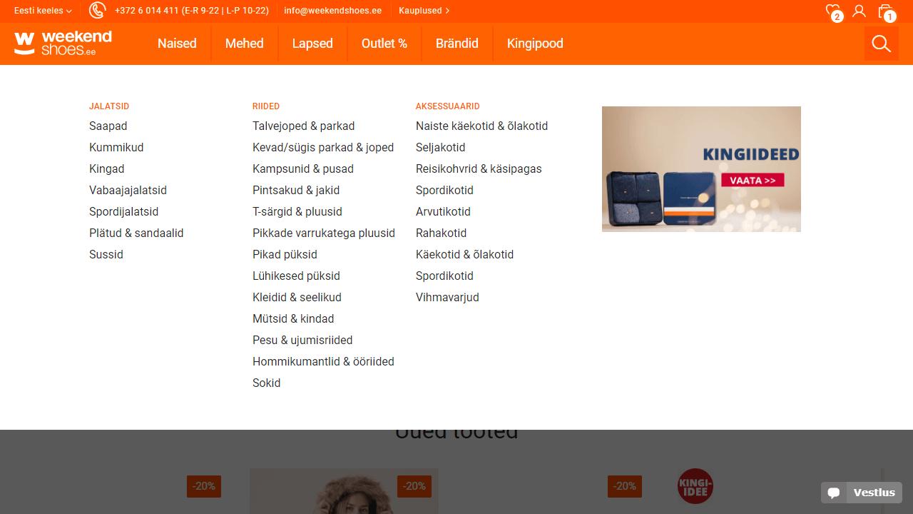 Weekendshoes menu UX