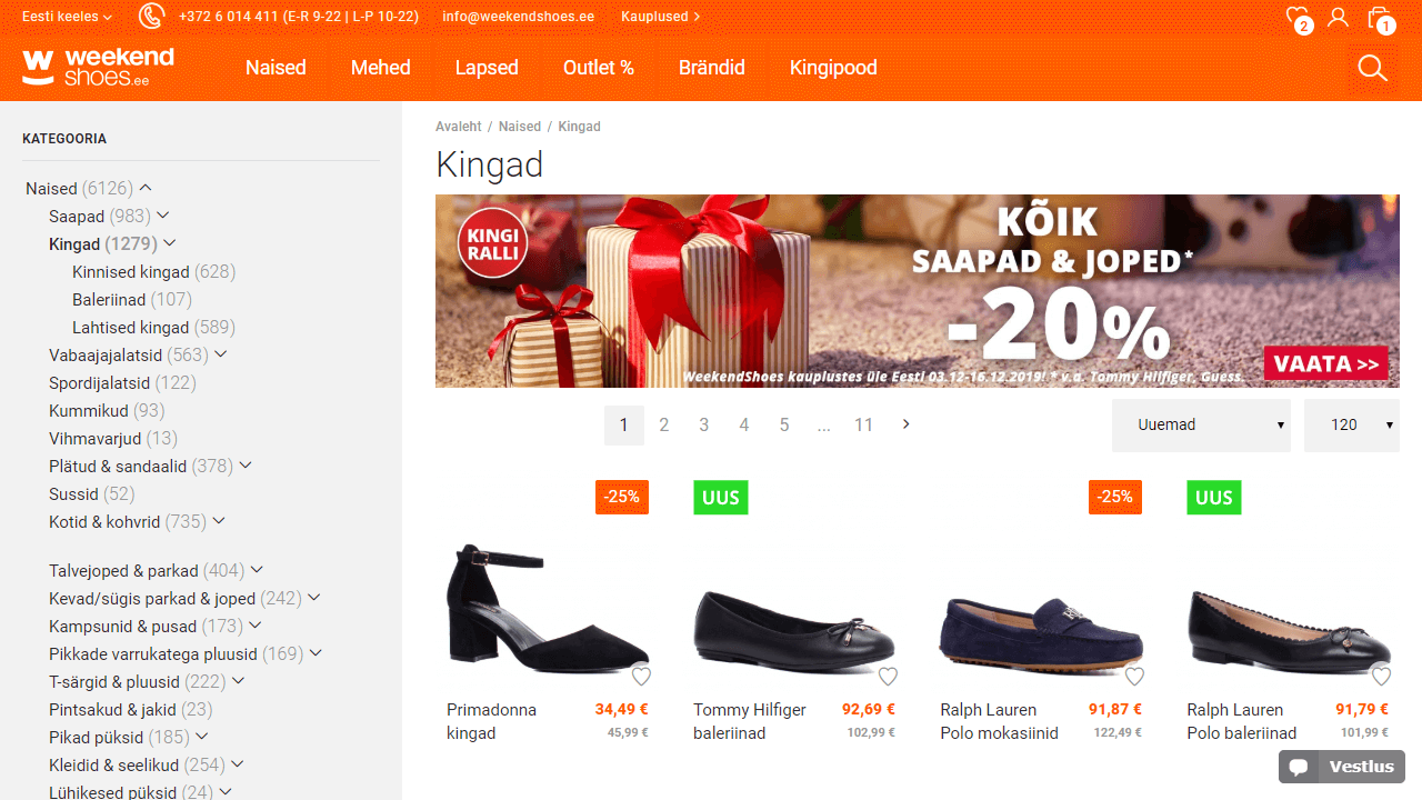 Weekendshoes category UX